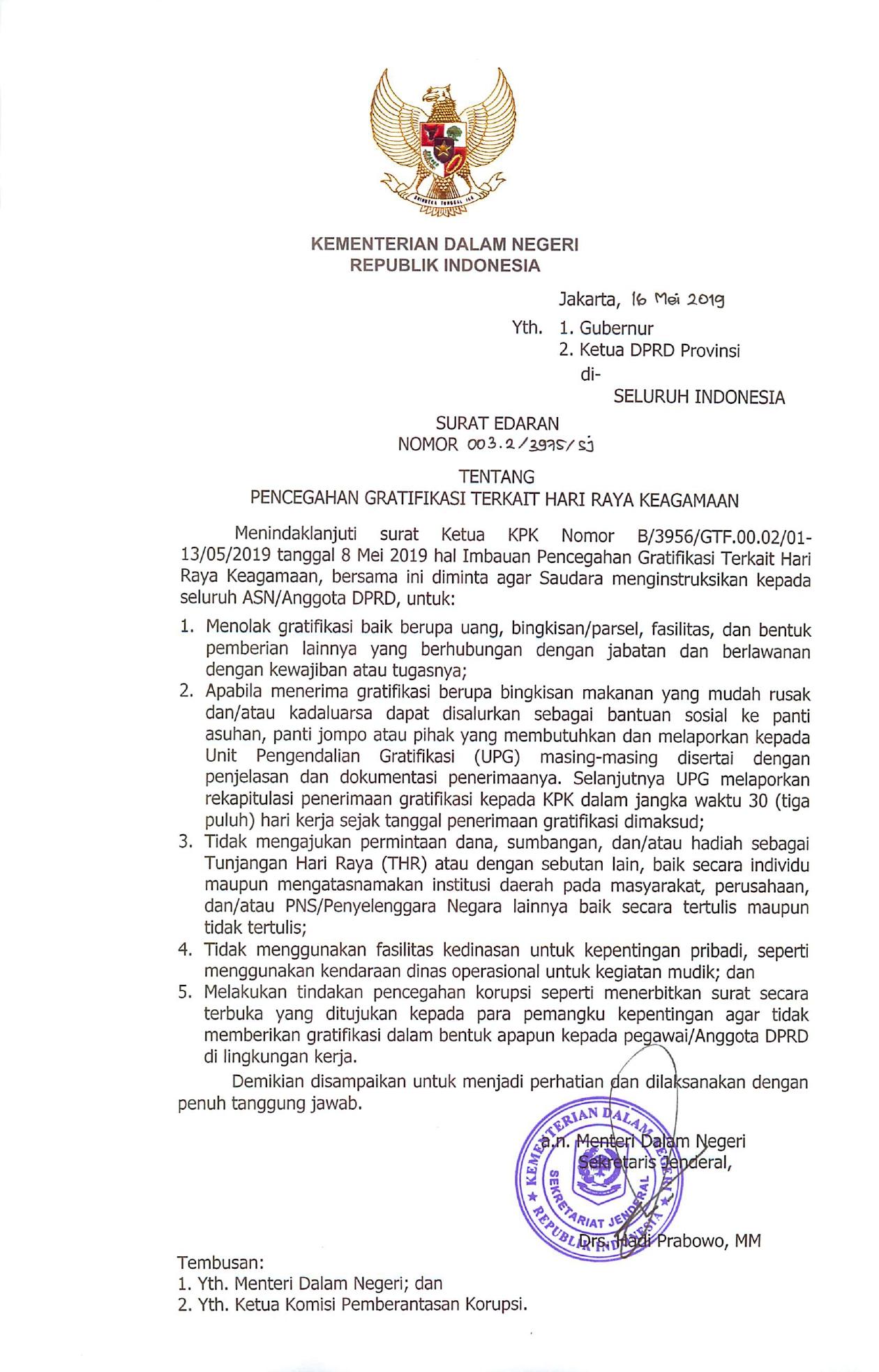 Kemendagri Larang ASN & Anggota DPRD Terima Gratifikasi Lebaran, Apa Saja?