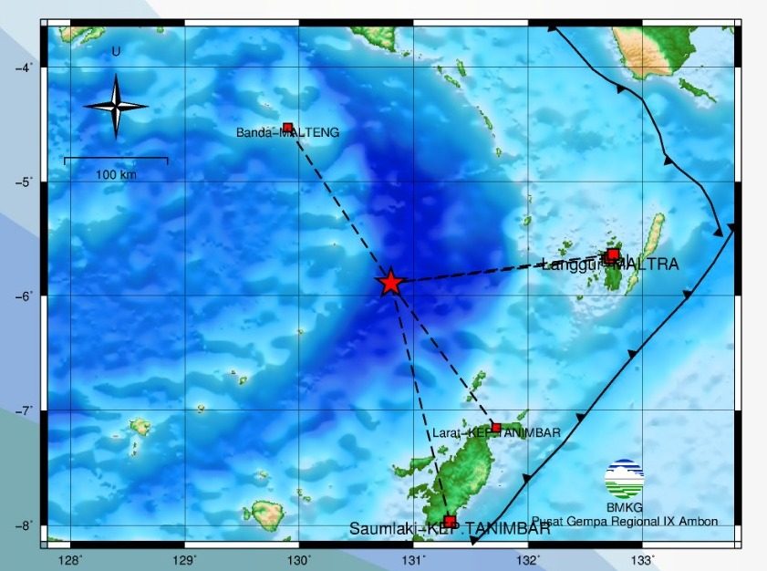 Gempa Bumi M 6,4 Guncang Laut Banda