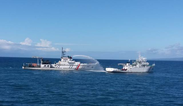 Latihan Jelang Marpolex 2019, Kapal Patroli KPLP Tual Perankan 'Fire Fighting'