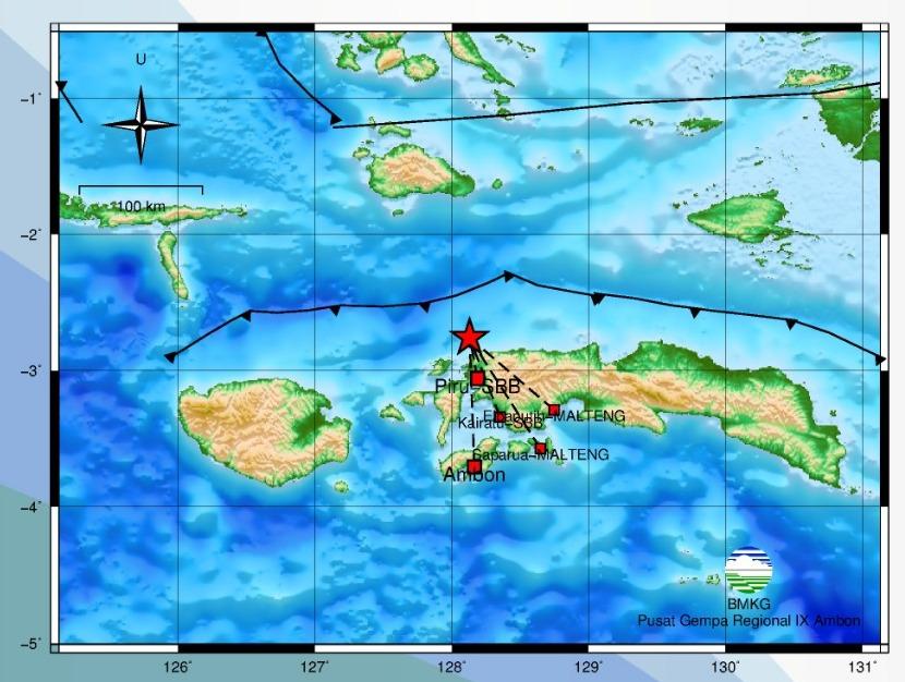 Gempa Bumi Tektonik M 5,0 Guncang Seram Barat