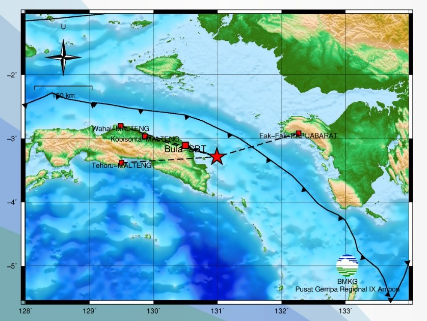 Gempa Bumi Tektonik M 5,1 Guncang Seram Timur