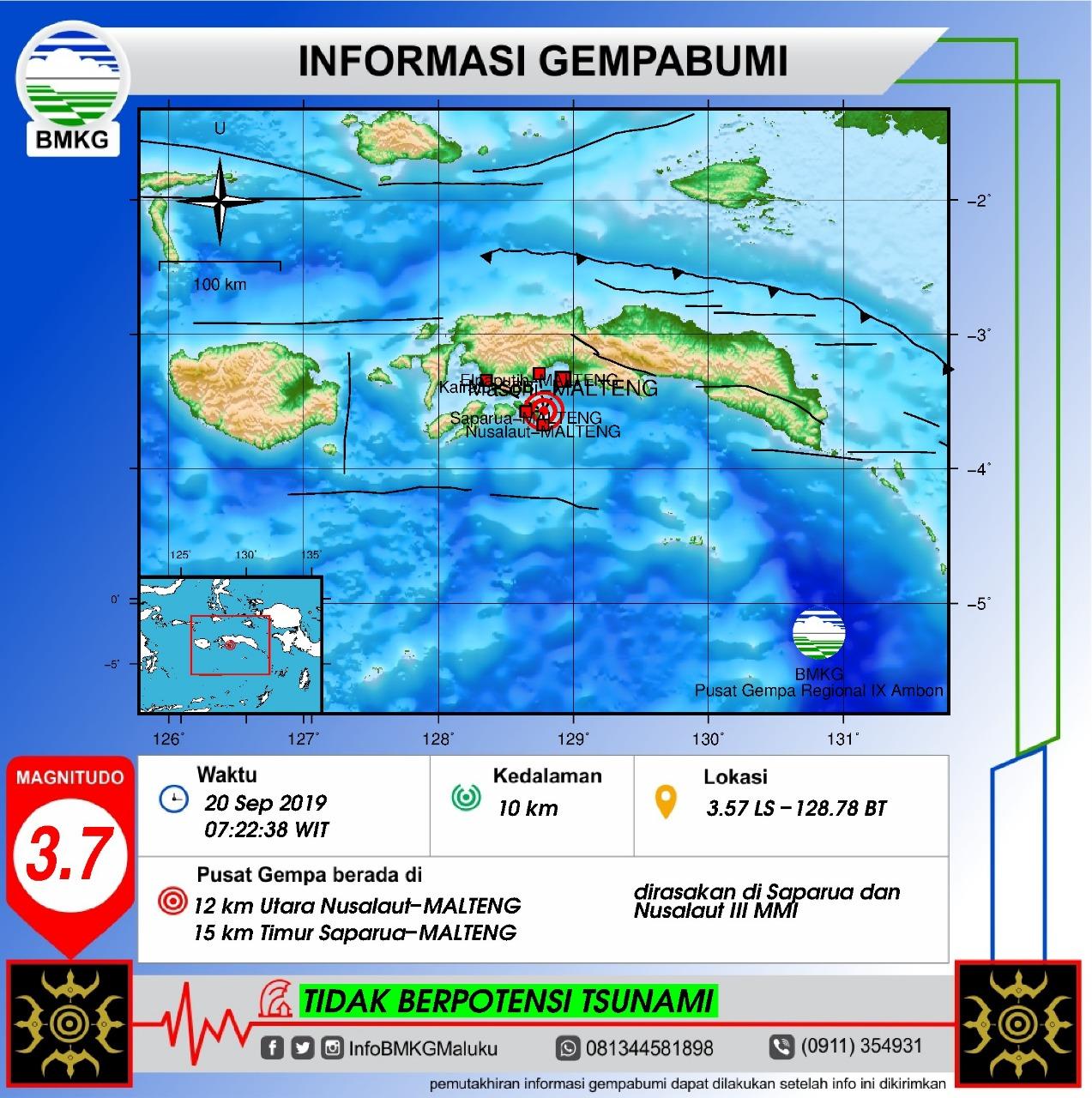 Gempa Bumi Tektonik M 3,7 Guncang Saparua & Nusalaut