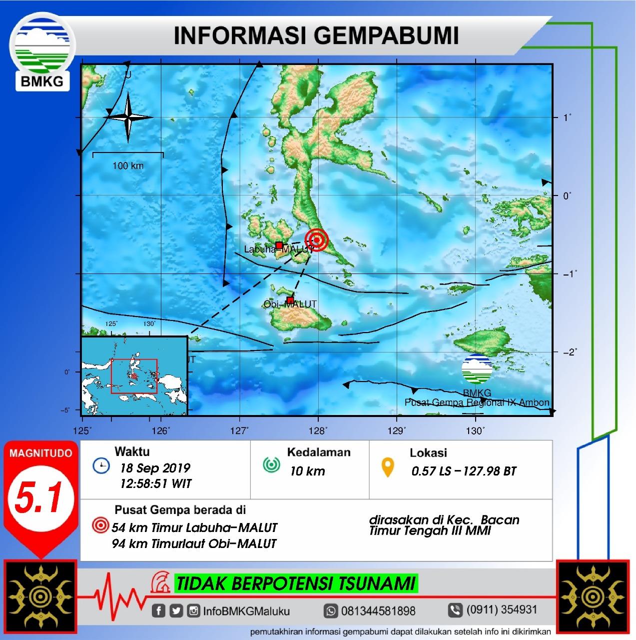 Gempa Bumi Tektonik M 5,1 Guncang Halmahera Selatan