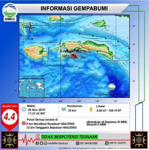 Gempa Bumi Tektonik M 4.4 Guncang Pulau Nusalaut