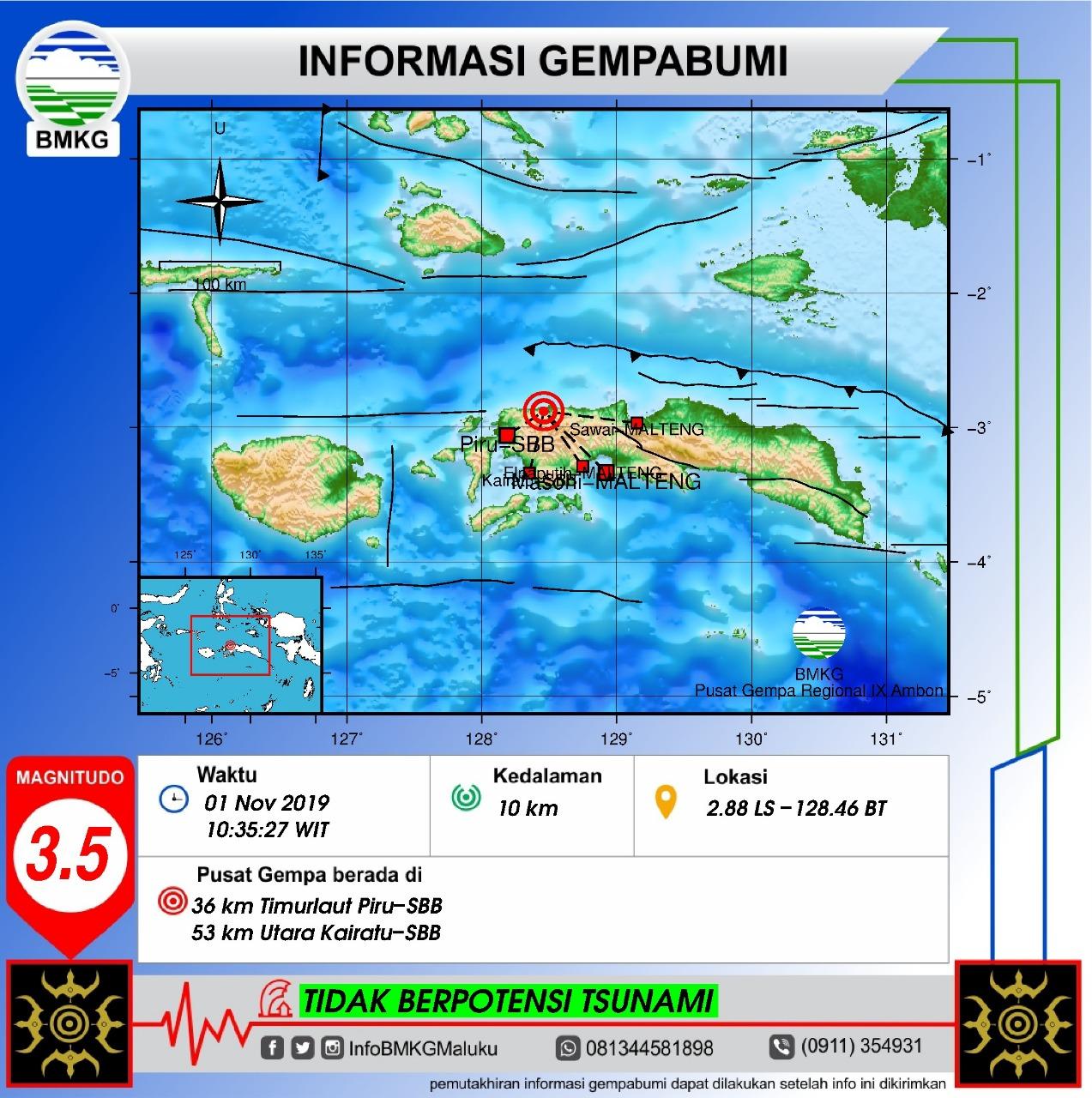 Gempa Bumi Tektonik M3.5 Guncang Taniwel