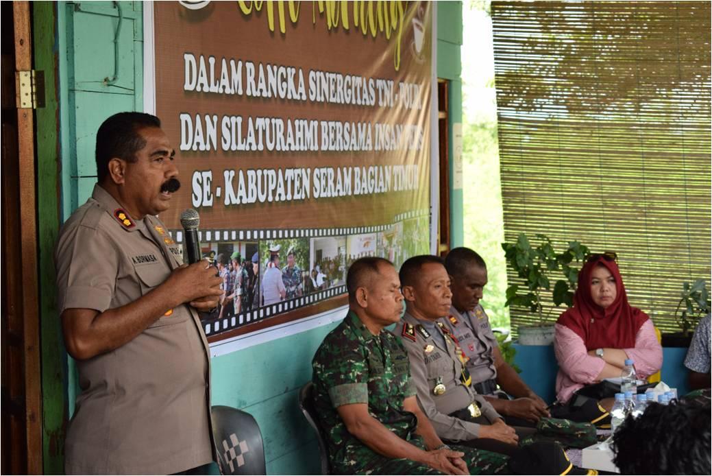 Kapolres SBT Jalin Sinergitas dengan TNI dan Wartawan