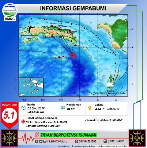 Gempa Bumi Tektonik M 5,1 Guncang Laut Banda