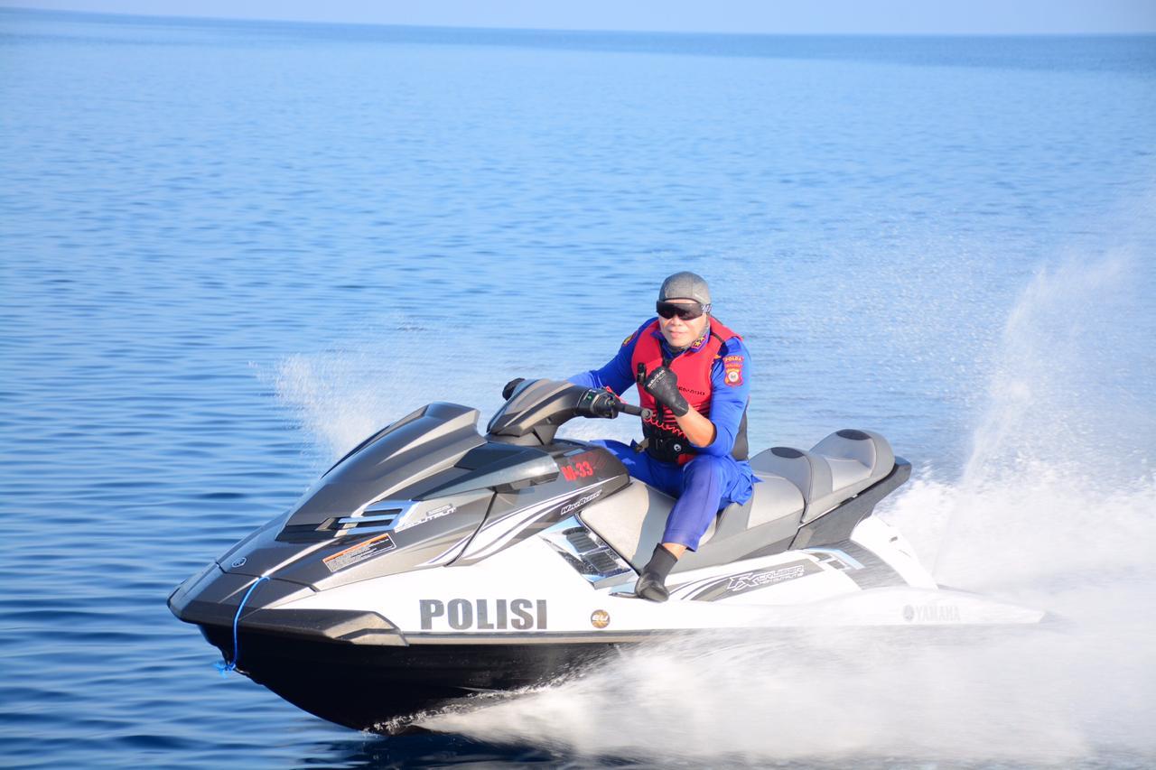 Kapolda Maluku Tuntas Patroli Laut Keliling Maluku Gunakan Jet Ski