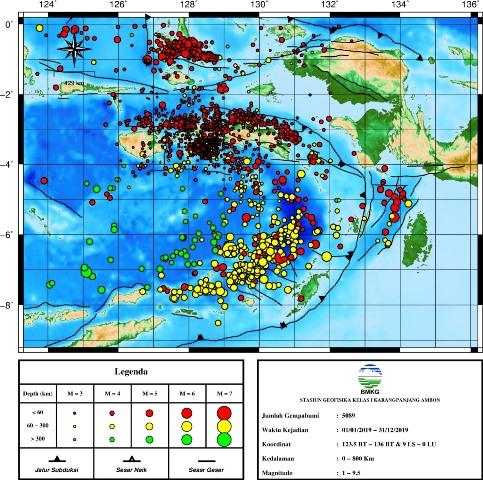 Sepanjang 2019, BMKG: 5.089 Gempa Bumi Guncang Maluku