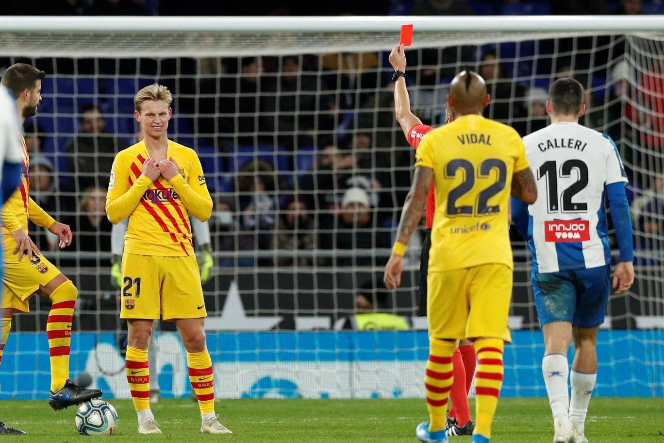 De Jong Kartu Merah, Barcelona Ditahan Espanyol 2-2