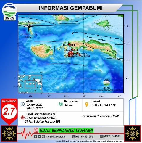 Getaran Gempa Bumi M 2,7 Terasa II MMI di Ambon