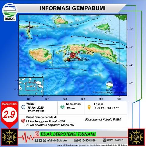 Getaran Gempa Bumi M 2,9 Terasa II MMI di Kairatu
