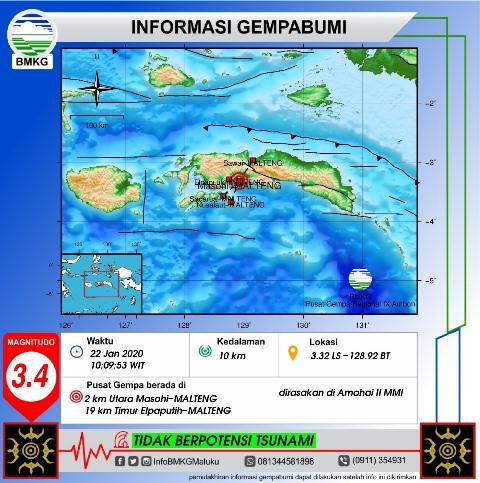 Gempa Bumi M 3,4 Terasa di Amahai, Ini Penjelasan BMKG