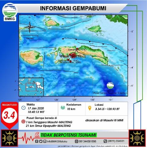 Gempa Bumi Tektonik M 3,4 Guncang Masohi