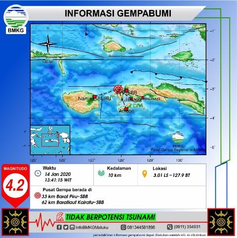 Gempa Bumi M 4,2 Guncang Wilayah Seram Bagian Barat