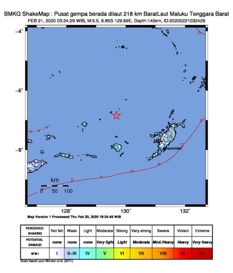 Gempa Bumi Tektonik M 5,5 Terasa III MMI Di Saumlaki