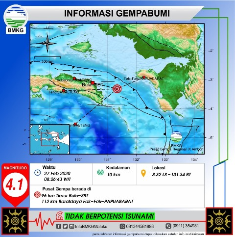 Gempa Bumi M 4,1 Terjadi di Wilayah Seram Timur
