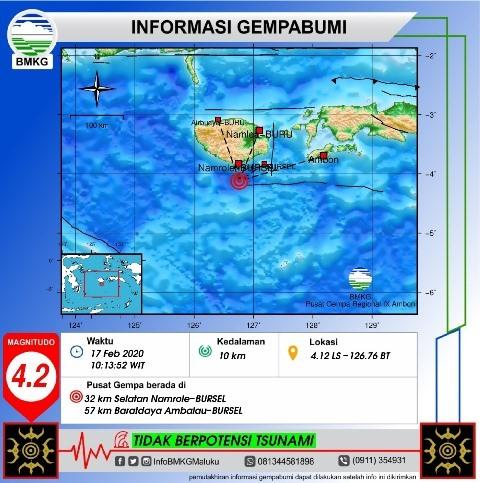 Gempa Bumi M 4,2 Terjadi di Wilayah Buru Selatan