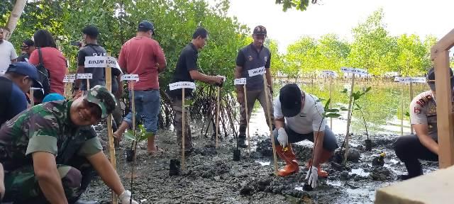 Sambut HPSN, Pemkot Tanam 100 Mangrove di Desa Nania