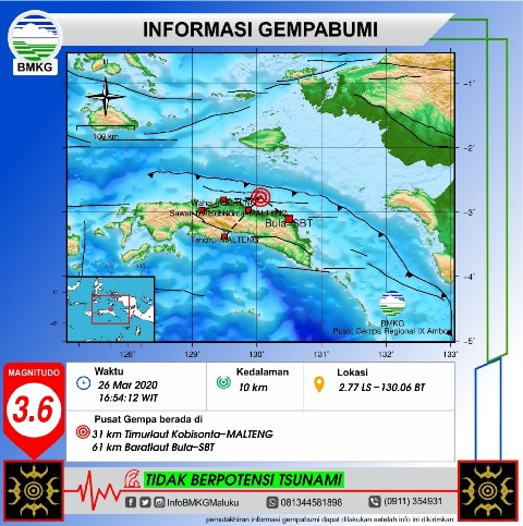 Gempa M 3,6 Terjadi di Laut Seram