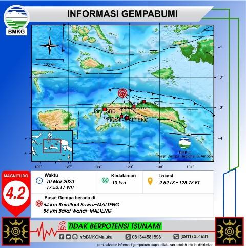 Gempa Bumi M 4,2 Terjadi di Laut Seram