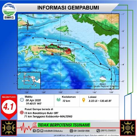 Gempa Bumi Tektonik M 4,1 Guncang Bula