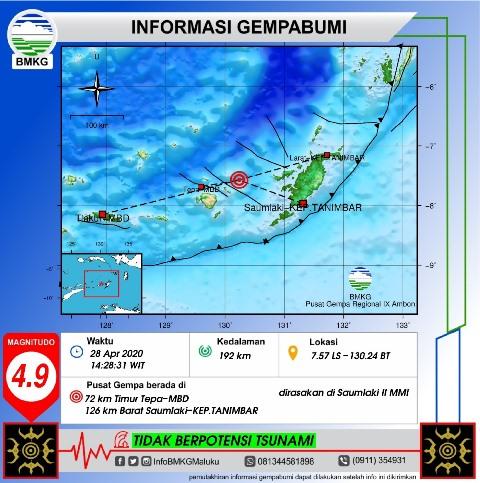 Gempa M 4,9 Guncang Saumlaki