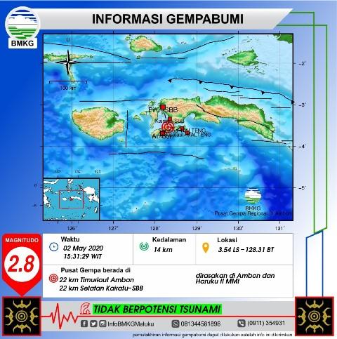Getaran Gempa M 2,8 Terasa II MMI Di Ambon & Haruku