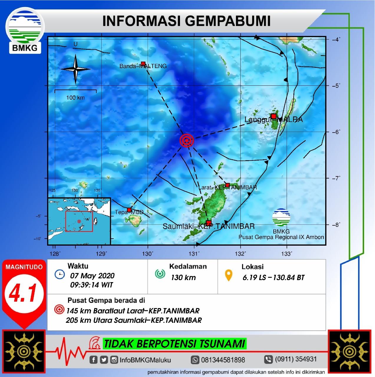 Gempa M 4,1 Terjadi Di Wilayah Tanimbar