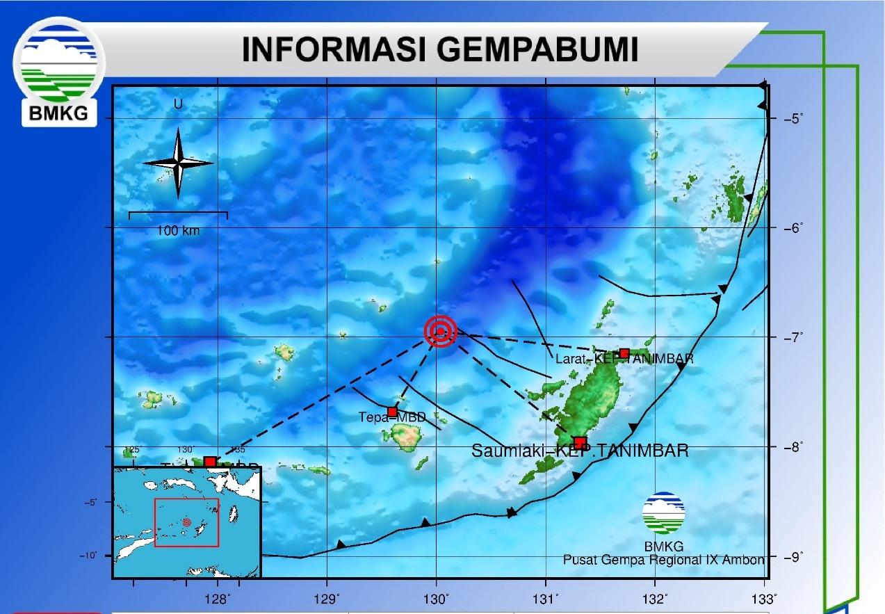Update BMKG: Gempa Tanimbar & MBD Berkekuatan M 6,9