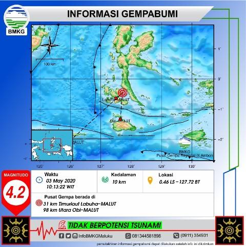 Gempa M 4,2 Guncang Gane Barat