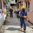 Brimob Maluku Rutin Semprotkan Cairan Disinfektan